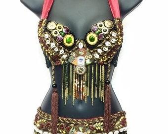 Women's Tribal Outfit,Tribal Bra + Tribal Skirt,Tribal Set,Burning Man,Burning Man Outfit,Native Inspired,Belly Dancing,Rave,Edc,Festival