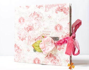Handmade books, SALE, wedding guest book, personalized reception book, unique photoalbum, custom sketchbook, kraft paper, guest album, pink