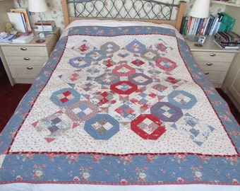 1950's style patchwork quilt, Vintage quilt, Fifties Roses, 1950's prints,Patchwork quilt, New Every Morning Patchwork & Quilting