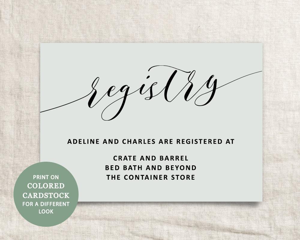 printable wedding registry card wedding info card template