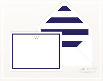 GRAPHIC STRIPES + MONOGRAM personalized stationery / note cards