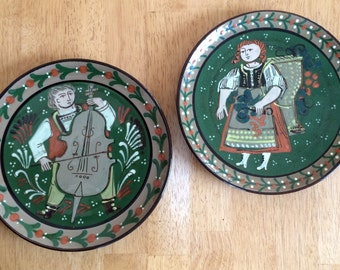 German Gifts-Gift for German-2 Folk Art Collector Plates