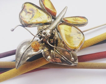 Hand-made Silver Butterfly with Baltic Amber