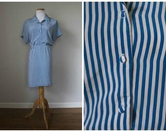 Blue & White Stripe Shirtdress // Monica Richards // M