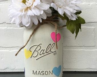 Colorful Heart Mason Jar