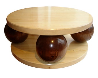 A large coffee table - Solid Pine - Art Deco style - contemporary