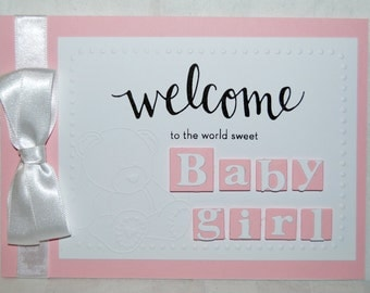 Handmade - New Baby Boy / Girl Card - Personalised - New Arrival - Welcome to the World  (HBCNB02)