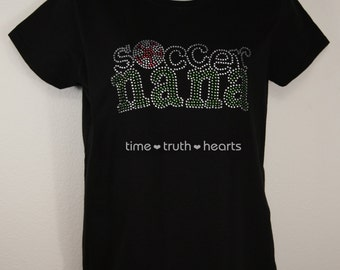 """Soccer Nana (9""""x4"""") Rhinestone T Shirt or Hoodie- your choice of 6 styles- Free shipping in the U.S."""