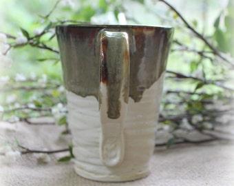 White Chiffon Pottery Mug by Mamosa Jo, 16 ounces