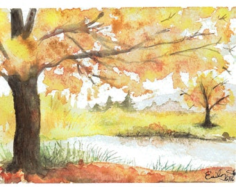 Autumn Pond - Print of Watercolor Painting