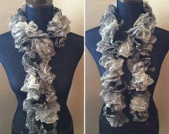Handmade Crochet Ruffle Scarf - Panda