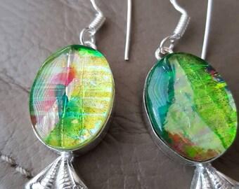 Dichroic Glass Earrings!