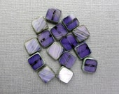 15 pcs Purple Blue Square Beads 8 mm Czech Glass Picasso Finish Tile Beads Flat Square