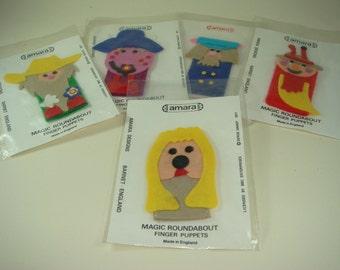 Finger Puppets Vintage Magic Roundabout Amara Dog Cow Snail Colourful Felt