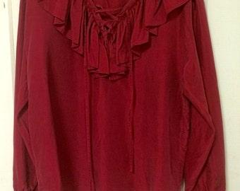 Vintage silk ruffle shirt