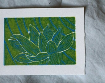 5x4 Blue and yellow lotus flower lino print