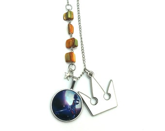 """Kingdom Hearts Inspired Glass Dome Beaded Charm 27"""" Chain Necklace Silver Tone"""