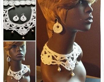 Handmade Crochet Necklace Bracelet Earrings Perfect Mother's Day Gift