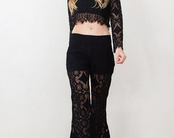 Black Lace Bell Bottom Pants- SOLD OUT!