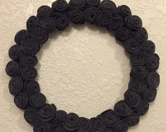 Charcoal Felt Flower Wreath