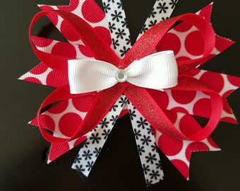 Red and white polka-dot bow