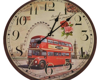London Bus Large 60cm Wooden Wall Clock
