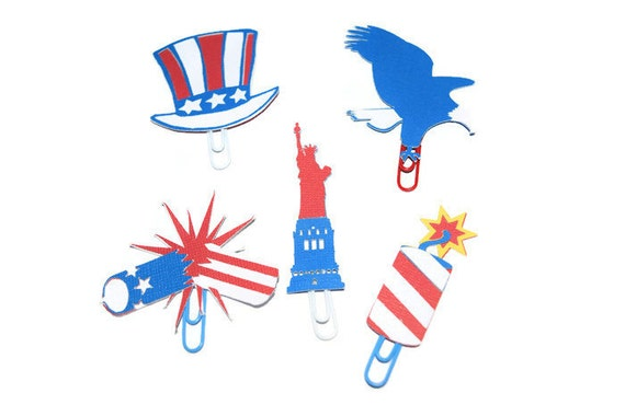 America Paper Clips, Fourth of July Bookmarks, Planner Paper Clips, Red White and Blue, (Fireworks, Eagle, Uncle Sam, Liberty) Stationary