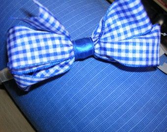 Headband with bow in blue and white check cotton