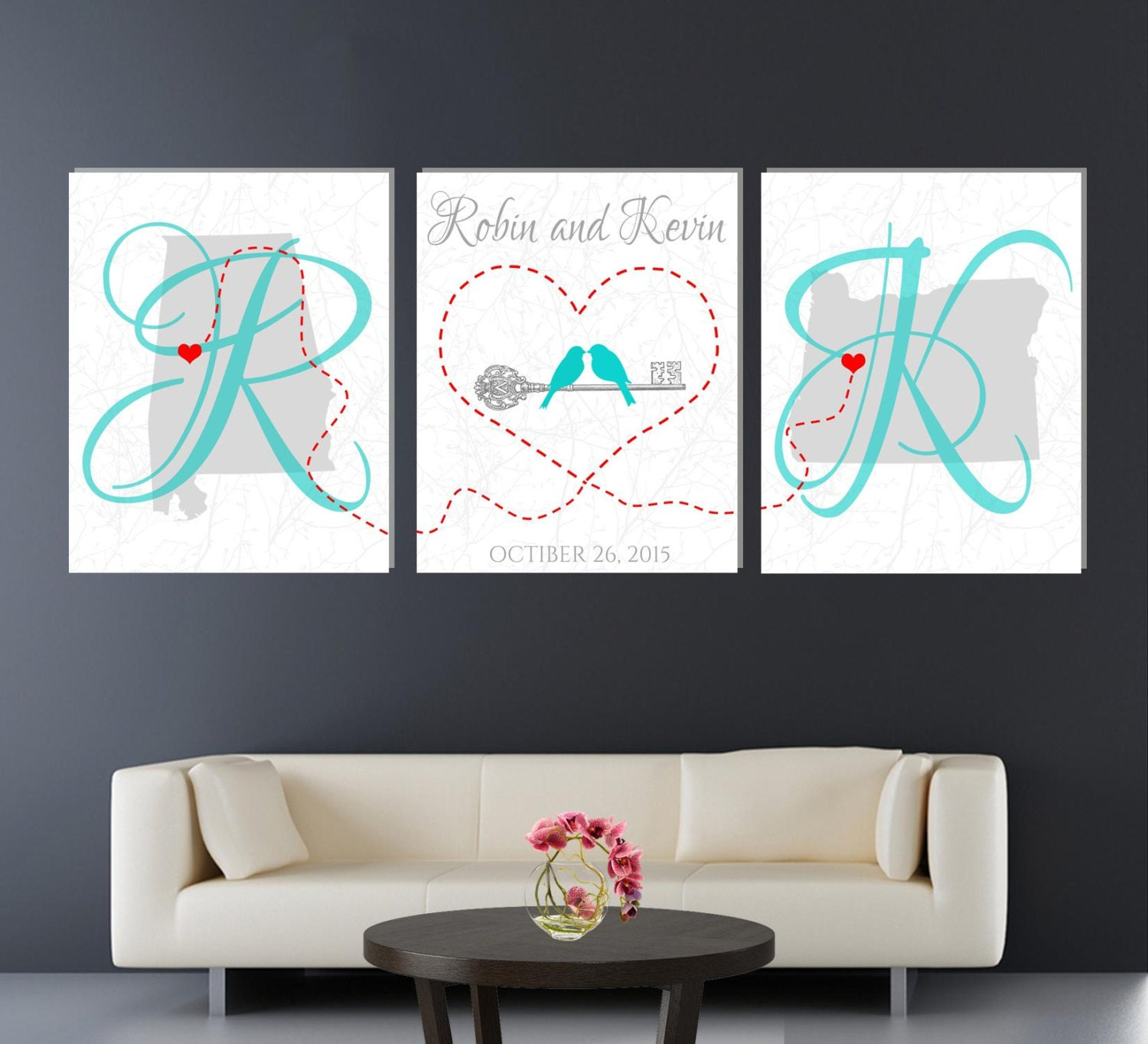 Wedding Gift Canvas Art : Unique Wedding Gift Canvas set of 3 Anniversary gift canvas