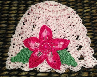 Crochet vintage baby summer hat Lily, pink hat, with flower