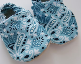 Blue, tribal, Moccasins, baby crib shoes, soft sole
