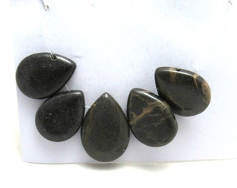 5 Pc Set Natural Portoro Marble Teardrop Focal Beads (B86j)