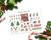 Christmas planner stickers, snowman, reindeer, christmas lights, candy canes, stockings, christmas tree, 40 stickers