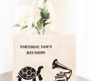 Hand painted Market Bag - Tortoise Town Records - handmade market bag - tote bag - shopping bag - beach bag - library bag - eco bag