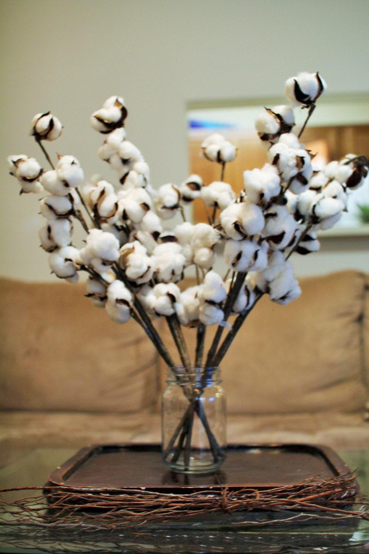 12 Cotton Boll Branches Cotton Boll Stalks Faux Cotton