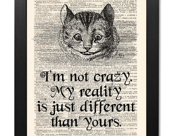 Alice in Wonderland, Cheshire Cat Quote Print, Dictionary art print, Illustration print, Home Wall Decor, Gift poster, Vintage [ART 130]