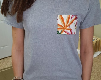 Cannabis print pocket tshirt