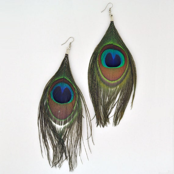 items similar to peacock feather earrings american