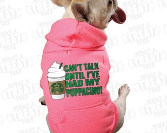 Treat Tees-Puppacino Pink Zip-Up Hooded Sweatshirt for Dogs! Hoodie, Hoody Dog Clothes, Frenchie, Starbucks, Pet Clothes, Bully