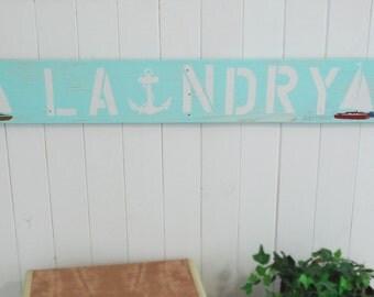 Beach Laundry Sign, Sailboats, Laundry Art Sign