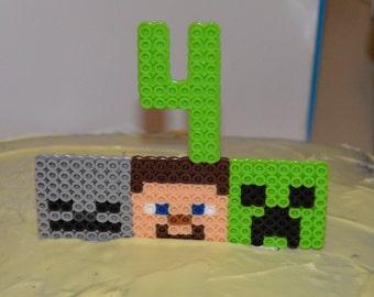 Minecraft cake topper