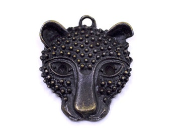 2 Bronze Tiger Charms | Bronze Tiger Pendant, Tiger Jewelry, Animal Charms, Animal Jewelry, Wild Animals, Leopard Charms