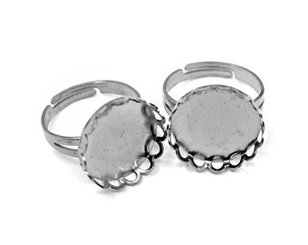 3 Silver Adjustable Round Ring Base Blank Findings with 18mm Round Pad Cameo Setting
