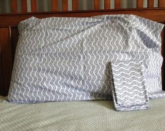 Blue print pillowcase, pair