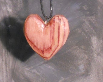 Carved Tulipwood Heart Pendant