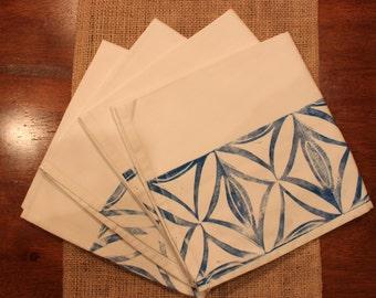 Block Printed Cloth Napkins--Set of Four, Hand Printed, Blue Ink