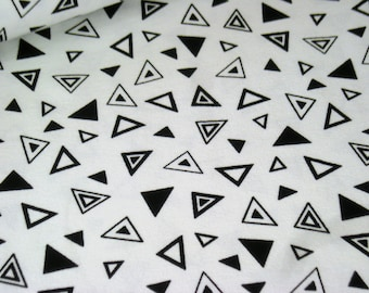 Cotton Jersey white with triangles