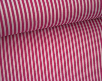 Fabric cotton fuchsia with white stripes