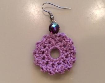 Lavender Flower Beaded Crocheted Earrings