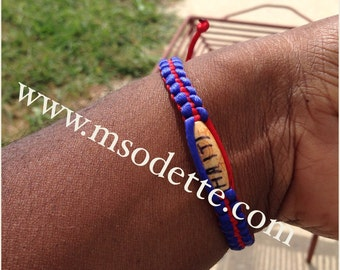 "Haiti Bracelet, made in Haiti, red and blue bracelet with bead that reads "" Haiti"", online Haitian Botanica, Vodou Botanica, voodoo, voodoo"